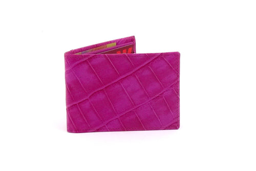 Pink crocodile printed leather small men's wallet front closed