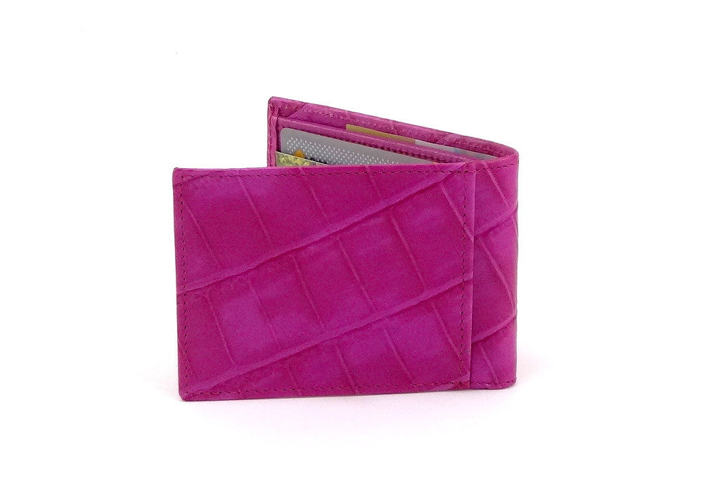 Pink crocodile printed leather small men's wallet back