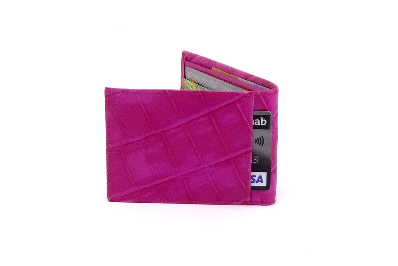 Pink crocodile printed leather small men's wallet back pocket