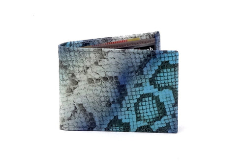 Blue snake printed leather small men's wallet front