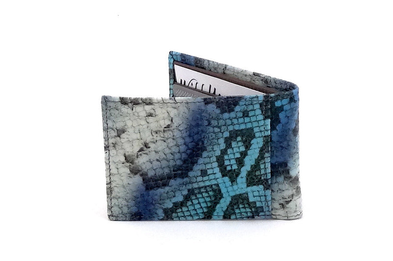 Blue snake printed leather small men's wallet back