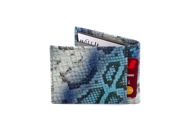Blue snake printed leather small men's wallet back pocket