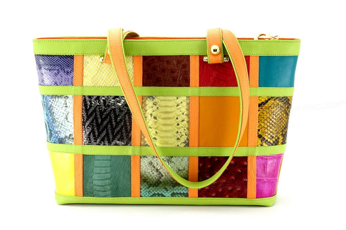 Emily  Medium leather tote bag patch work with lime & orange side 1