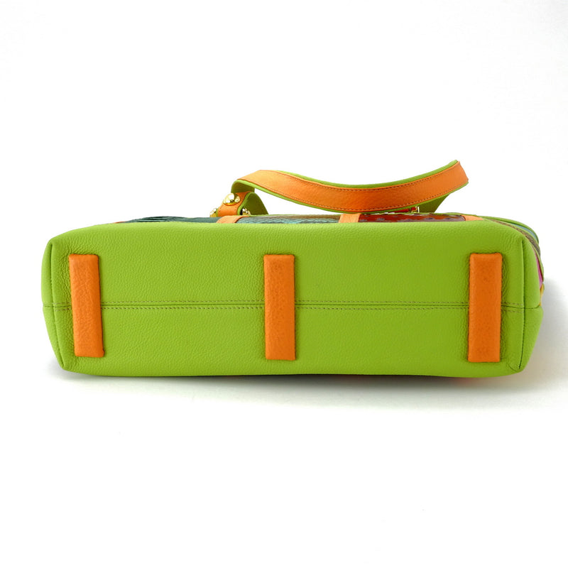 Emily  Medium leather tote bag patch work with lime & orange bottom view of feet