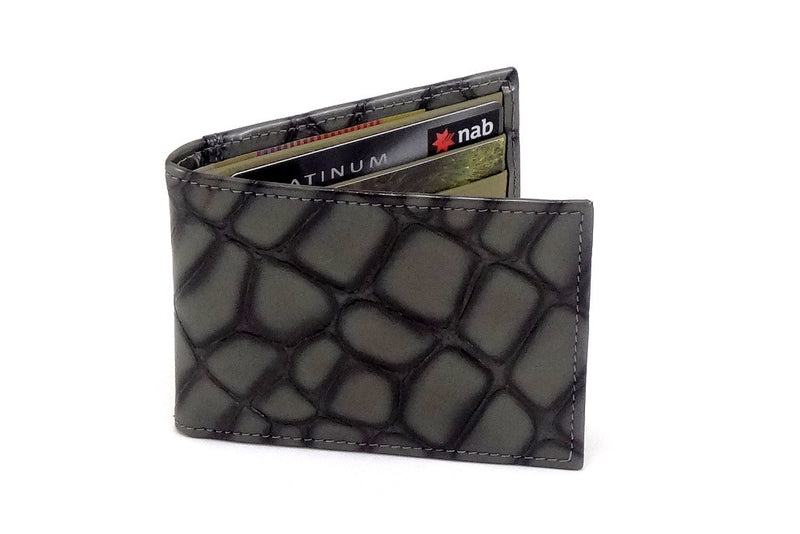 Grey foil printed leather small men's wallet front closed