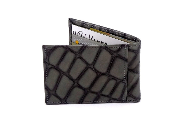 Grey foil printed leather small men's wallet back closed