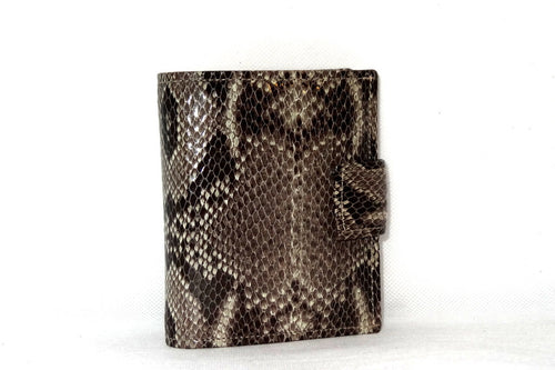Christine  Grey snake print leather small ladies purse wallet front view tab closure