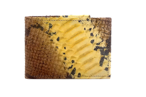 Tristan  Yellow snake print leather small men's wallet 2 front