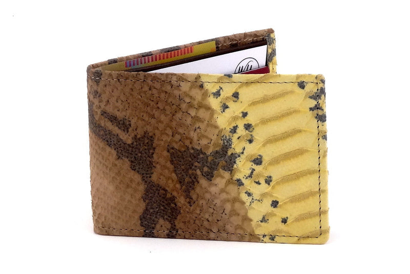 Yellow snake print leather small men's wallet 3 front