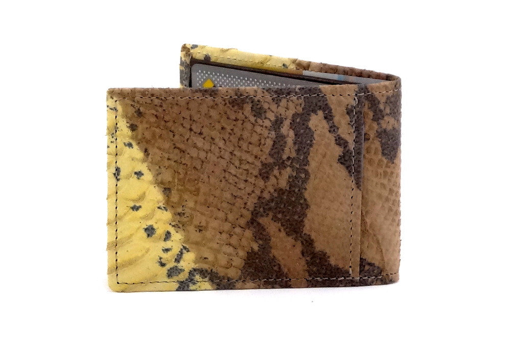 Yellow snake print leather small men's wallet 3 back
