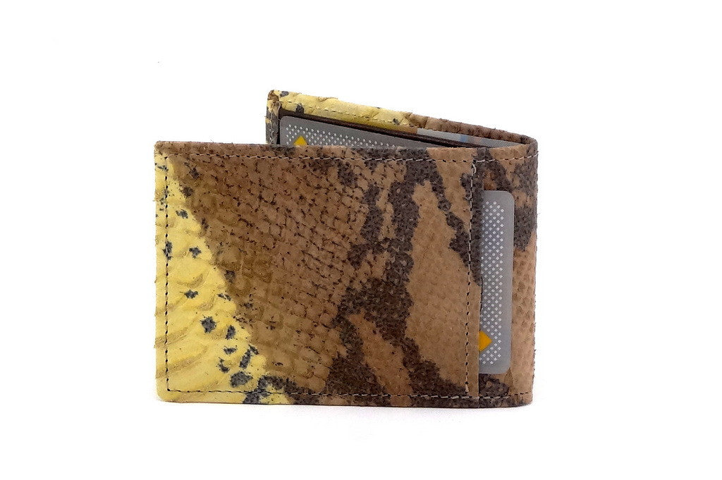 Yellow snake print leather small men's wallet 3 back pocket
