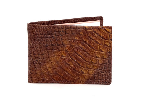 Copper snake printed leather small men's wallet front closed