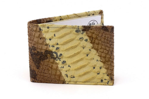 Yellow snake print leather small men's wallet front closed