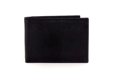 Black leather small men's wallet front