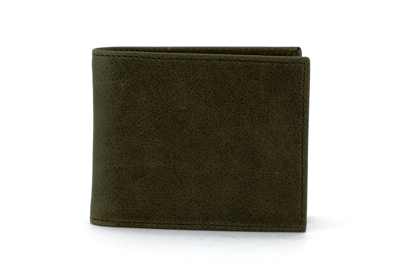 Martin  Olive green leather man's large bifold hip wallet showing front outside view