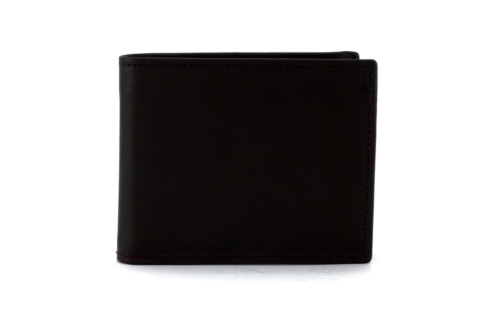 Martin  Dark brown calft skin leather man's bi fold hip wallet front view