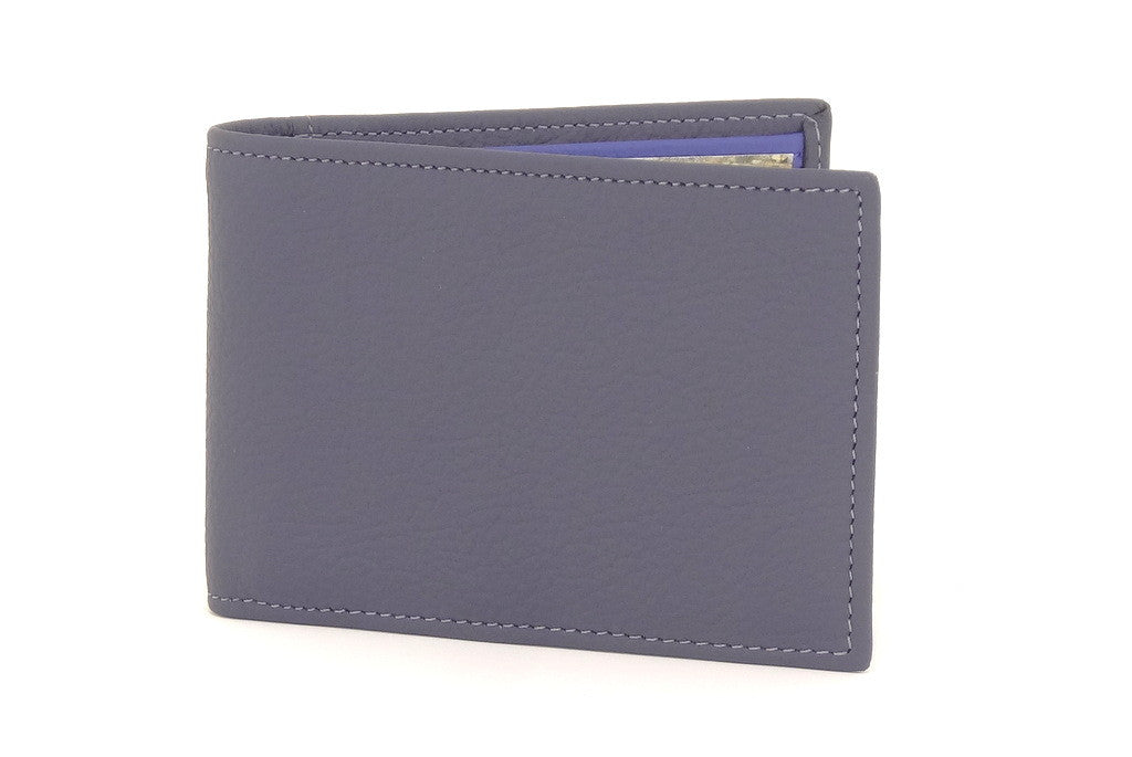Grey leather small men's wallet