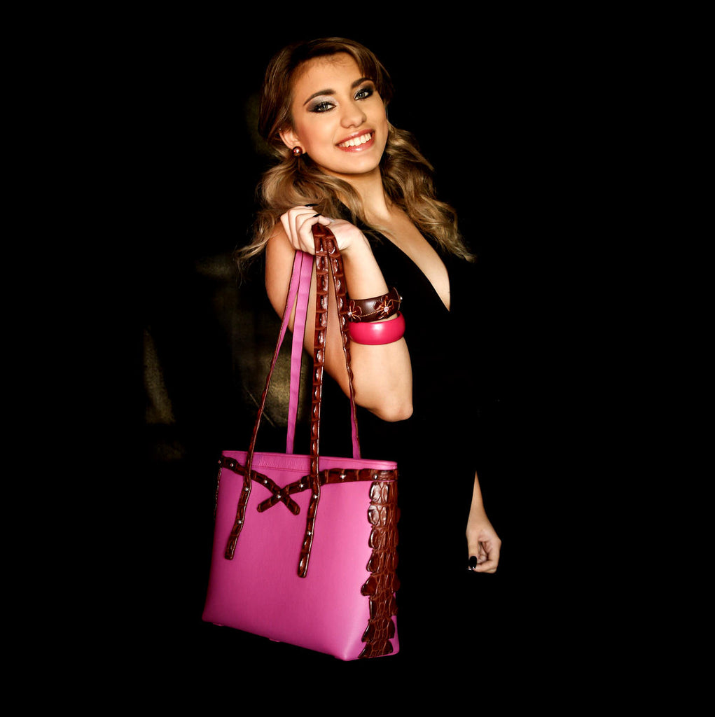 Emily  Medium tote bag fuchsia leather & back strap nickel fittings shown with model