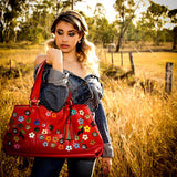 Felicity  Rojo leather flower detail tassel large tote bag with model