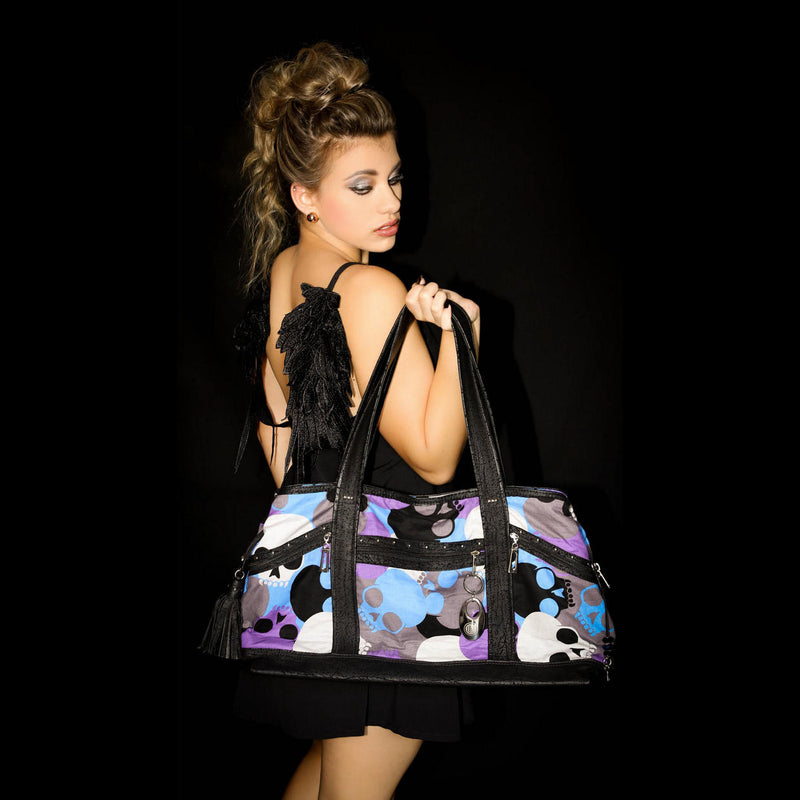 Felicity  Black leather with a skull print fabric large tote bag shown with model