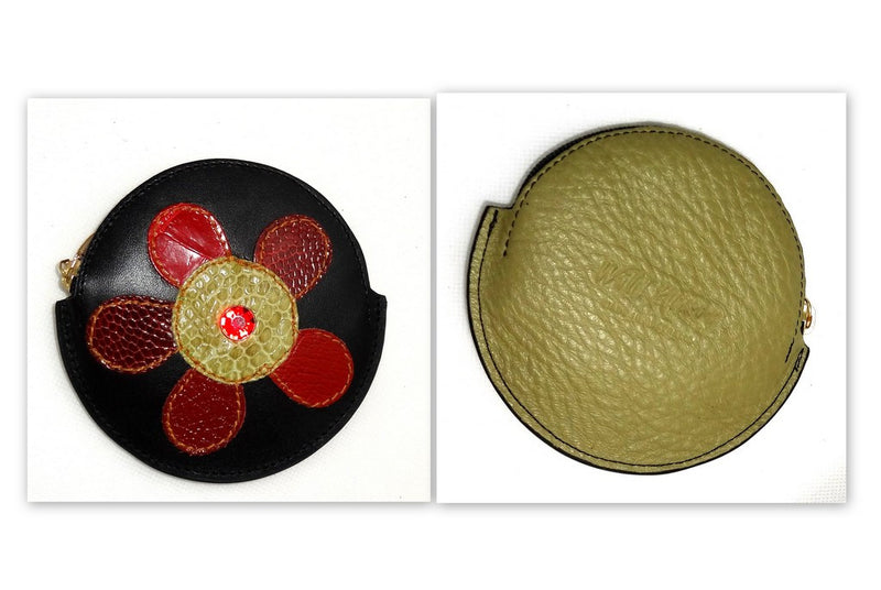 Coin Purse - Round decorated leather with zip large flower one side