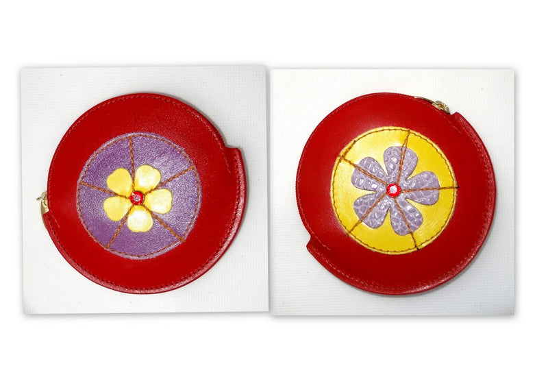 Coin Purse - Round decorated leather with zip Red with flowers on both sides