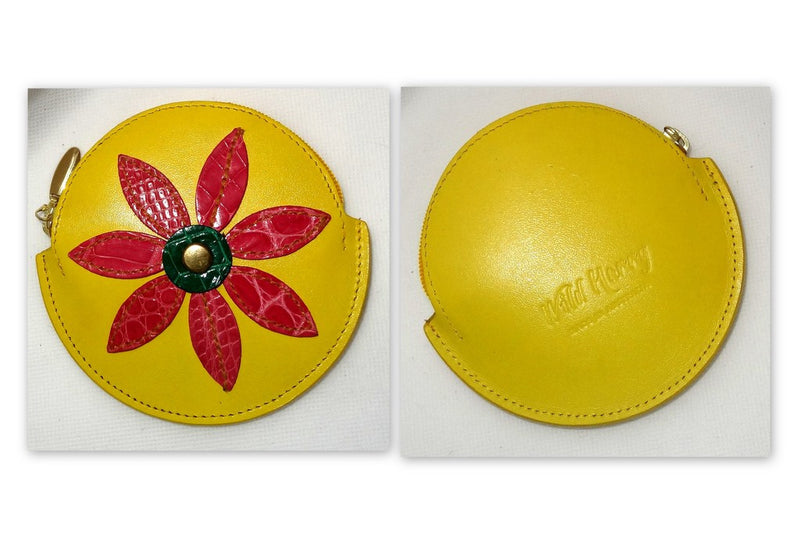 Coin Purse - Round decorated leather with zip Yellow with large red flower