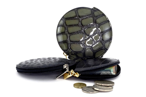 Coin Purse - Round printed leather with zip group showing money