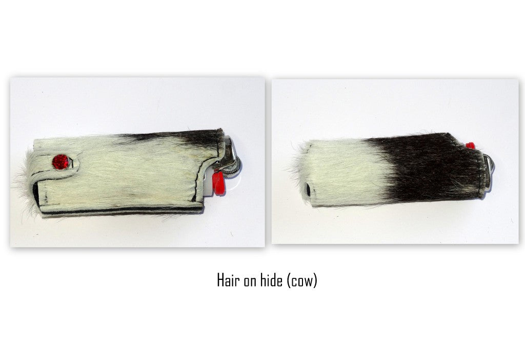 Lighter cover Hair on hide leather