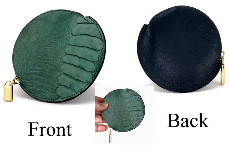 Coin Purse - Round Ostrich skin leg & quill with zip green ostrich leg