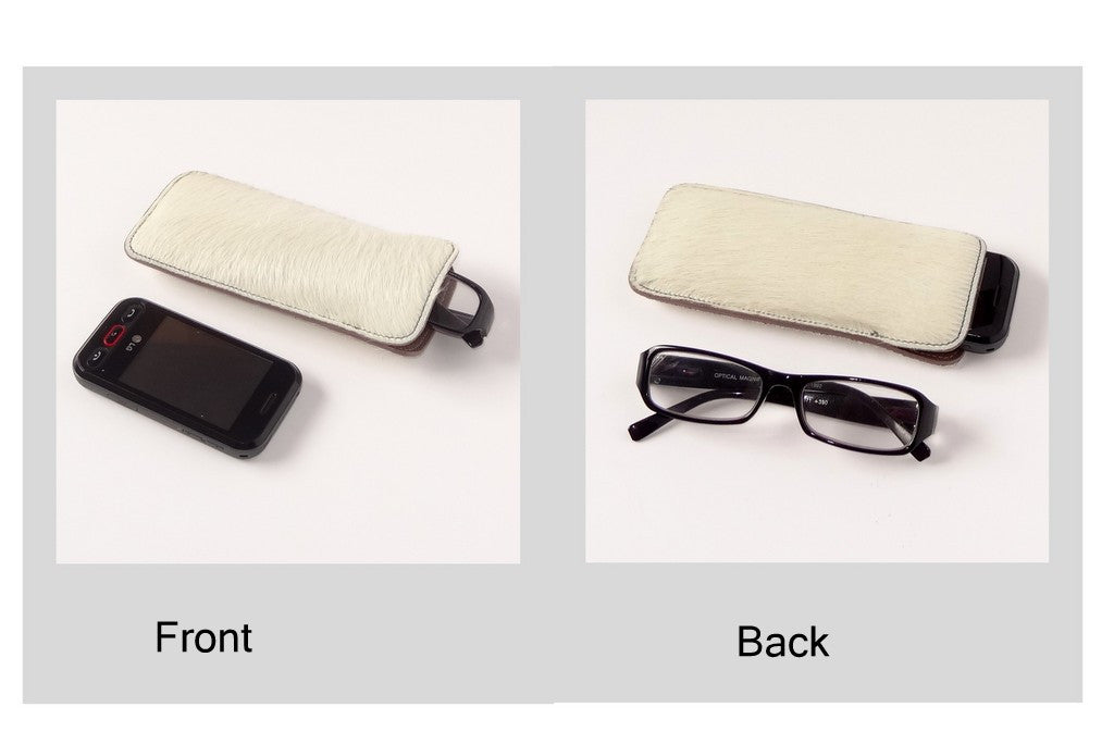 Glasses/mobile phone soft case Hair on cow hide