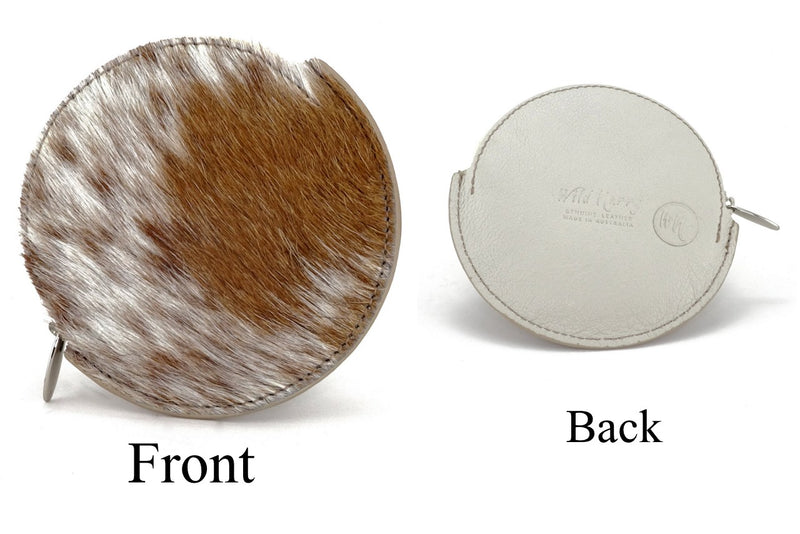 Coin Purse - Round Hair on cow hide leather front and back