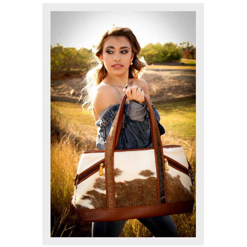 Felicity  Brown & white hair on cow hide rust leather large tote bag with model