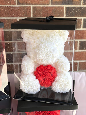Rose Bear- White with Red heart - flower in a box