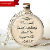 "FREE ""For With God Nothing is Impossible"" Necklace - HorsinRound"