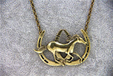 Vintage Double Horse Shoe Necklace Pendant - Season Finds