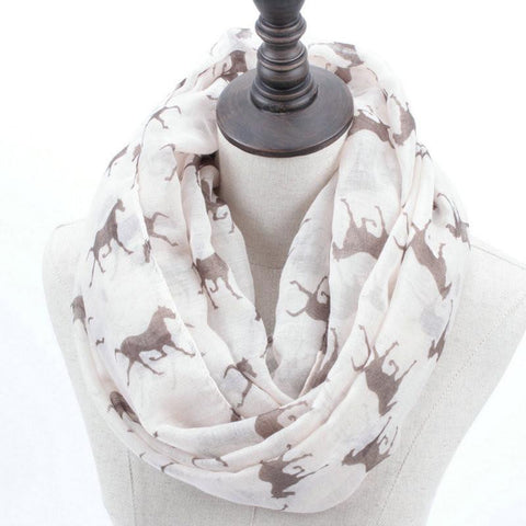 Horse Print Loop Shawl Infinity Scarf - HorsinRound - 1