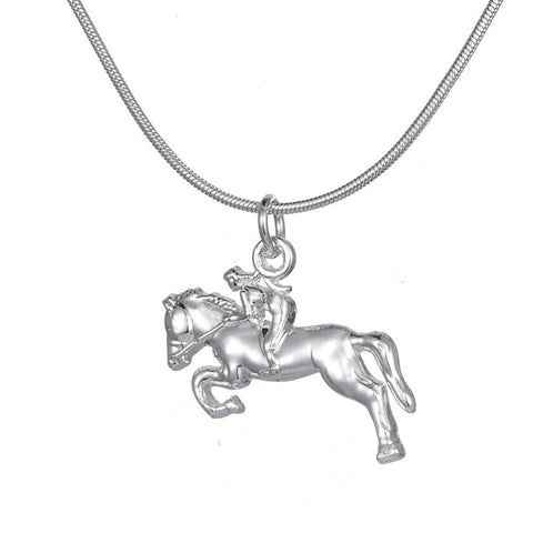 Girl Rider Silver Necklace - HorsinRound - 1