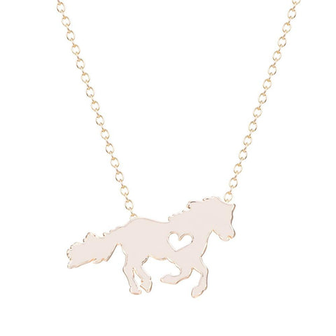 Horse With Heart Necklace Silver 18k Gold - HorsinRound - 1