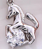 Horse and Crystal Pendant Necklace Gold Silver Rose - Season Finds