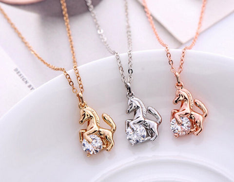Horse and Crystal Pendant Necklace Gold Silver Rose - HorsinRound - 1