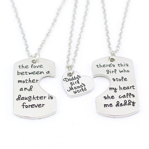 3 Piece Daddy's Girl Mama's World Necklace - HorsinRound