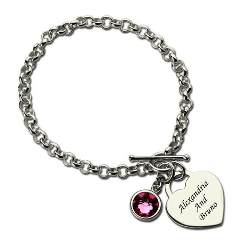 You and Me Name Bracelet with Birthstone - HorsinRound - 1