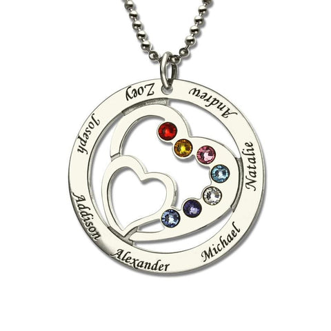 Personalized Heart in Heart Birthstone Necklace - Season Finds