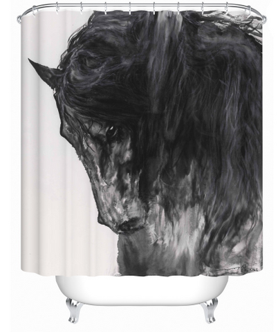 Black horse shower curtain - Season Finds