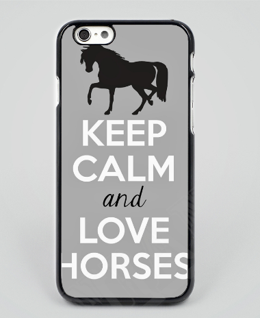 Keep Calm and Love Horses mobile phone case grey - HorsinRound