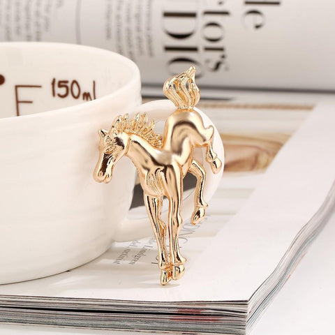 Gold and Silver Horse Brooch Pin - Season Finds