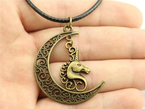 Crescent Moon and Unicorn Leather Necklace - HorsinRound - 3