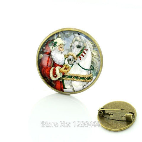 Santa Claus Horse Brooche Pins - HorsinRound