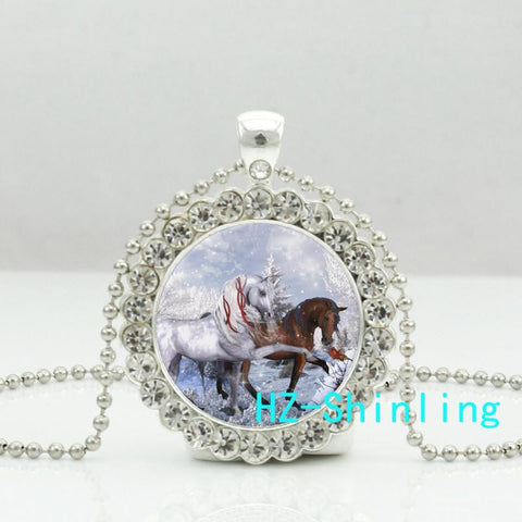 Christmas Holiday Horses Necklace - HorsinRound - 1